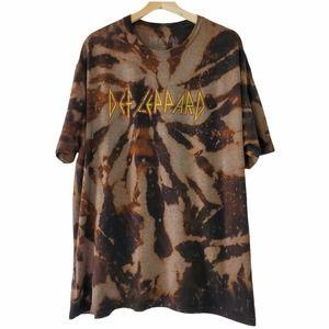 Def Leppard Logo Custom Bleach T-Shirt Size XXL 2X